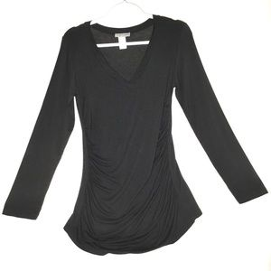 Body Central Womens Black Ruched Sweater/Tee Small